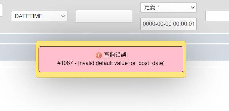 WordPress MySQL #1067 – Invalid default value for 'post_date'